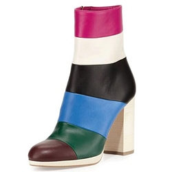 Shoespie Cap-Toe Contrast Color Block Heel Ankle Boots