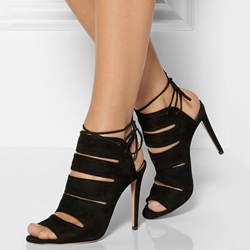 Shoespie Black Cut Out Tie-Back Stiletto Heels