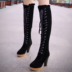 Shoespie Nubuck Lace Up Platform Riding Boots