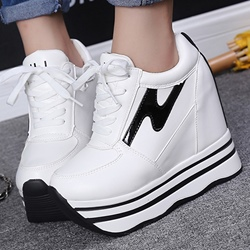 Shoespie Chic Black and White Platform Sneakers