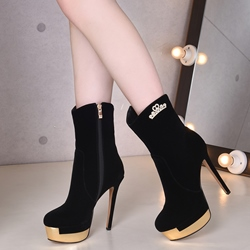 Shoespie Black Nubuck High Heel Boots