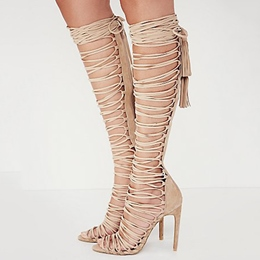 Shoespie Lace-Up Open-Toe Stiletto Heel Sandal Boots
