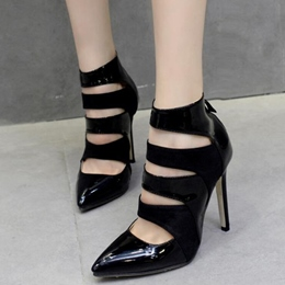 Shoespie Black Cut Out Pointed Toe Court Shoes