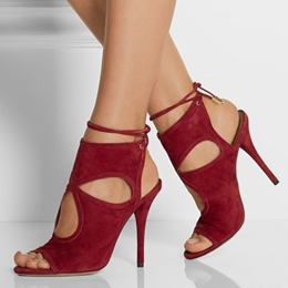 Shoespie Burgundy Cut Out Tie Back Stiletto Heels