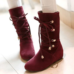 Shoespie Round Toe Lace-Up Mid Calf Flat Boots