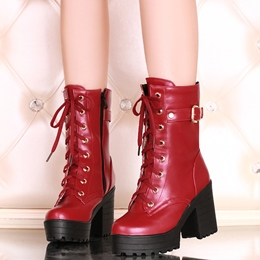 Shoespie Patent Buckle Martin Boots