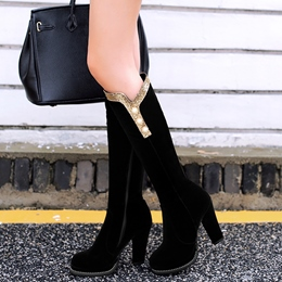 Shoespie Nubuck Button Hoop Block Low Heel Knee High Boots