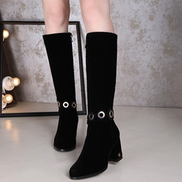 Shoespie Black Hollow Out Mid Block Heel Knee High Boots