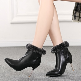 Shoespie Chic Furry Pointed Toe Ankle Boots