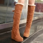 Shoespie Nubuck Shearling Bow-Back Wedge Heel Snow Boots
