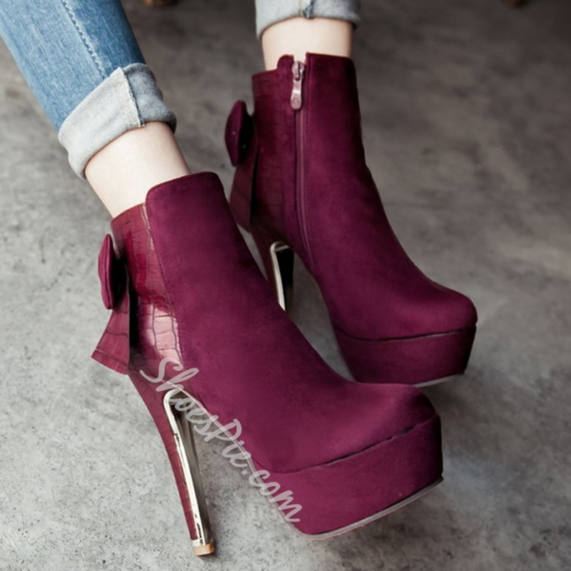 Shoespie Nubuck Bow-Back Platform Ankle Boots