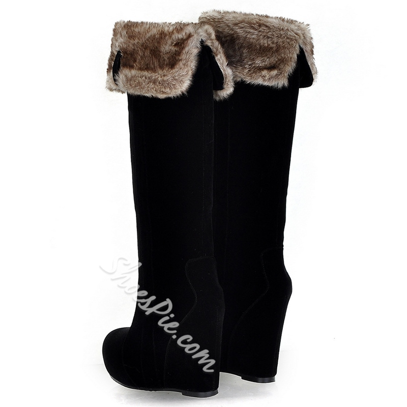 Shoespie Nubuck Shearling Wedge Snow Boots