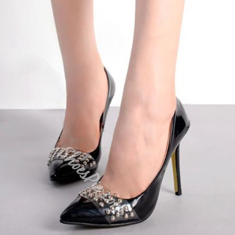 Shoespie Black Illusion Appliqued Stiletto Heels