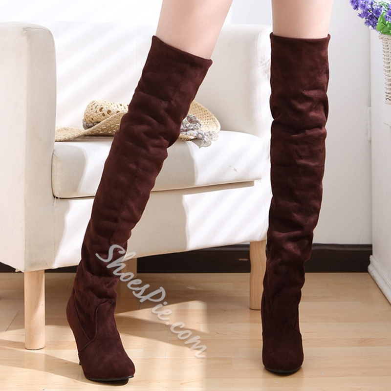 Shoespie Nubuck Stiletto Heel Thigh High Boots
