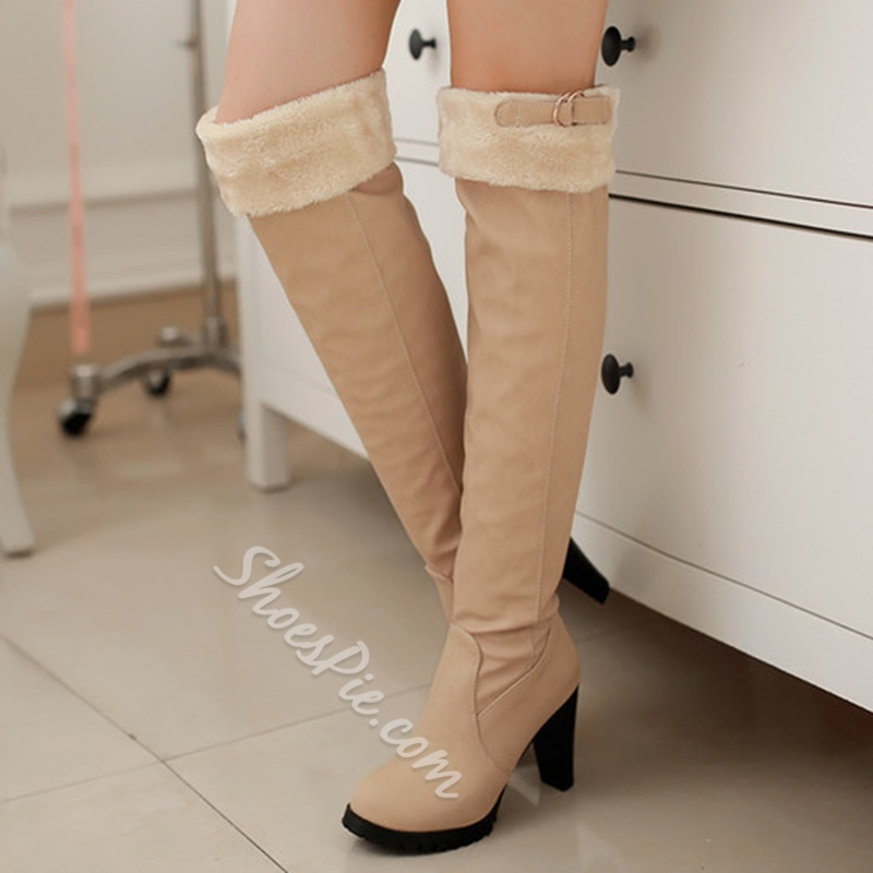 Shoespie Round Toe Lug Sole Low-Heel Knee High Boots