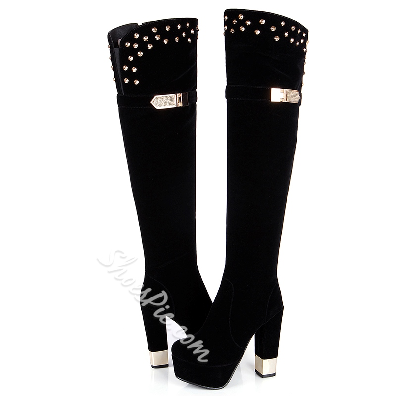 Shoespie Nubuck Platform Block Heel Knee High Boots