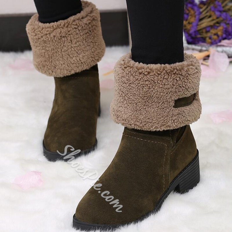 Shoespie Round Toe Shearling Snow Boots