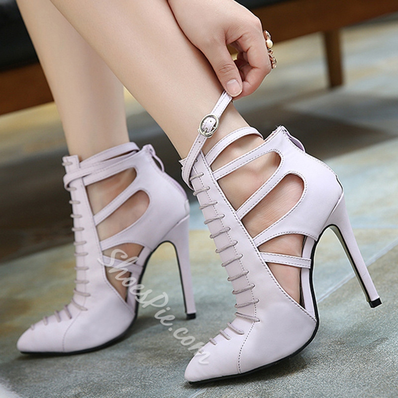Shoespie Fashion Lace Up Cut Out Stiletto Heels