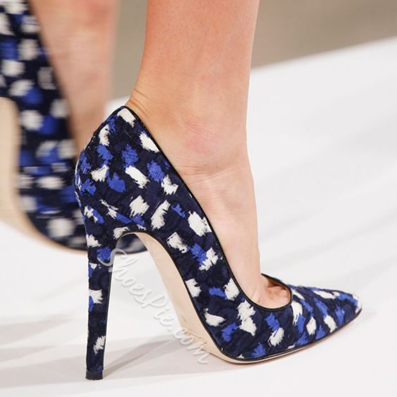 Shoespie Royal Blue Printed Pointed Toe Stiletto Heels