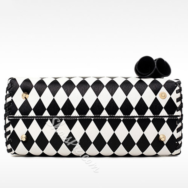 Shoespie Black & White Plaid Medium Tote Bag