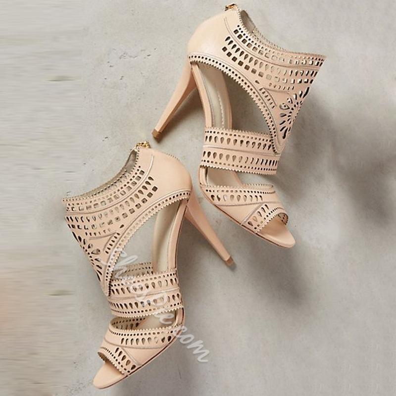 Shoespie Elegant Laser Cutting Back Zipper Dress Sandals