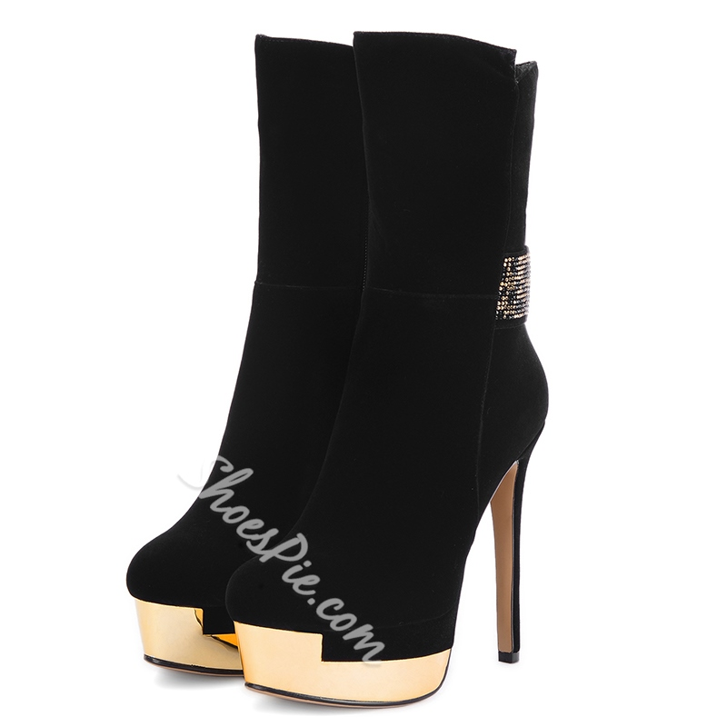 Shoespie Black Platform High Heel Boots