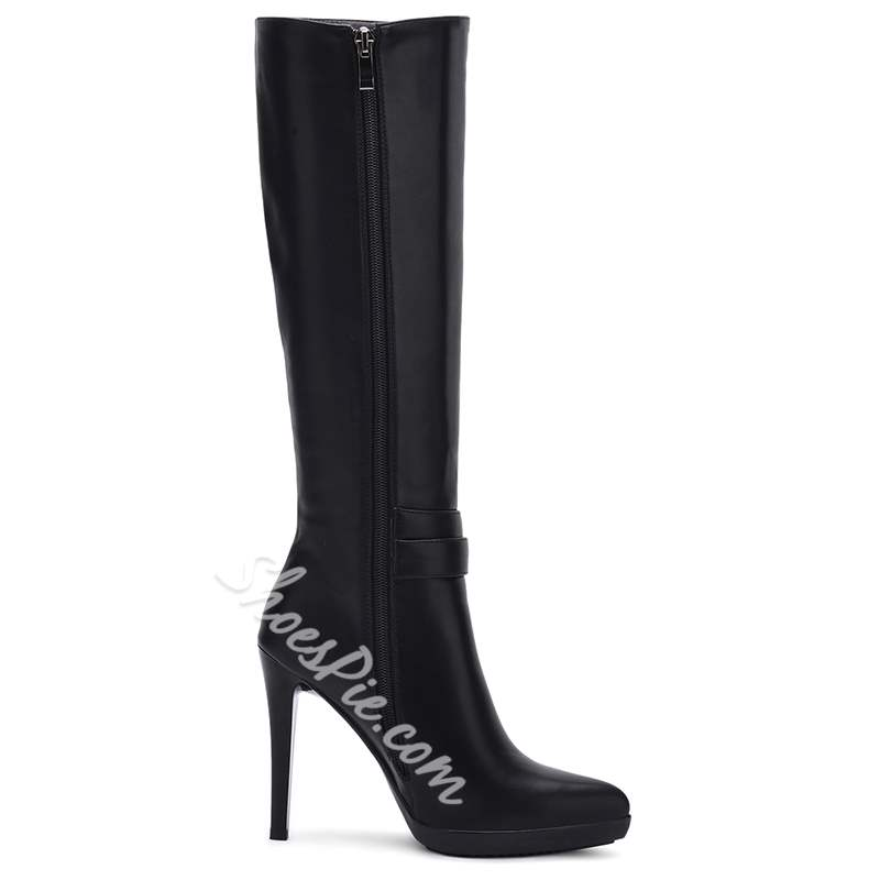 Shoespie Black Ankle Buckle Knee High Boots