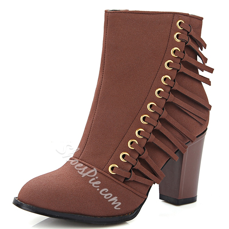 Shoespie Fringe Round Toe Ankle Boots