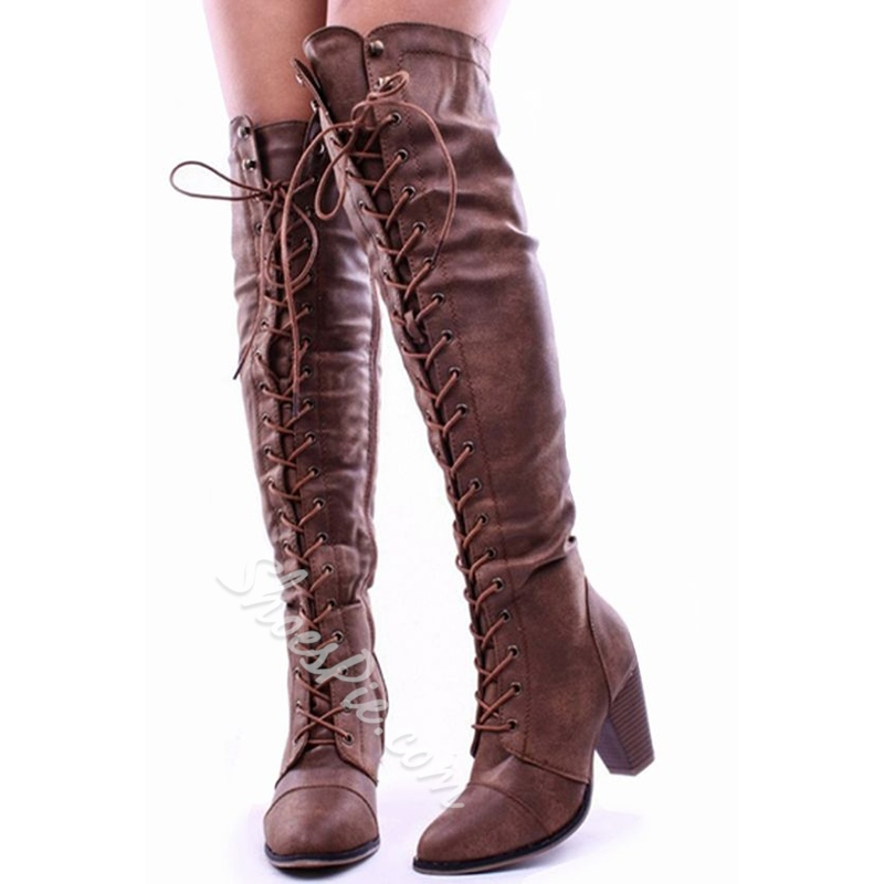 57a28d61e56 Shoespie Vintage Distressed Block Heel Lace Up Knee High Boots ...