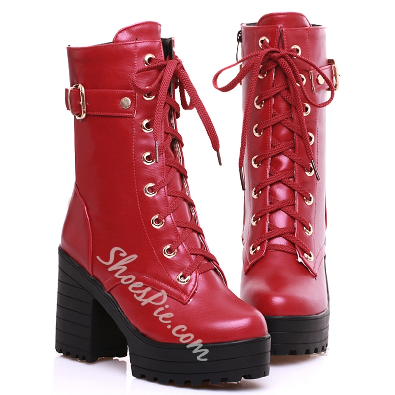 Shoespie Patent Leather Buckle Martin Boots