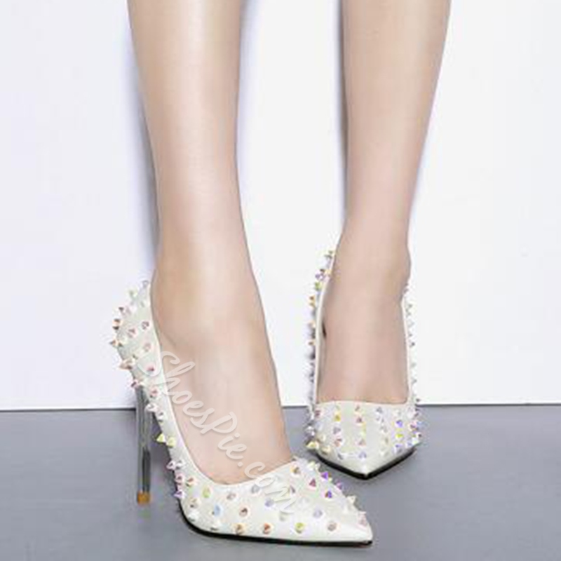 Shoespie White Rivets Pointed Toe Stiletto Heels