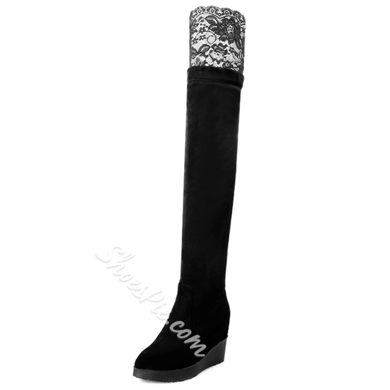 Shoespie Lace Inset Wedge Heel Wedge Boots