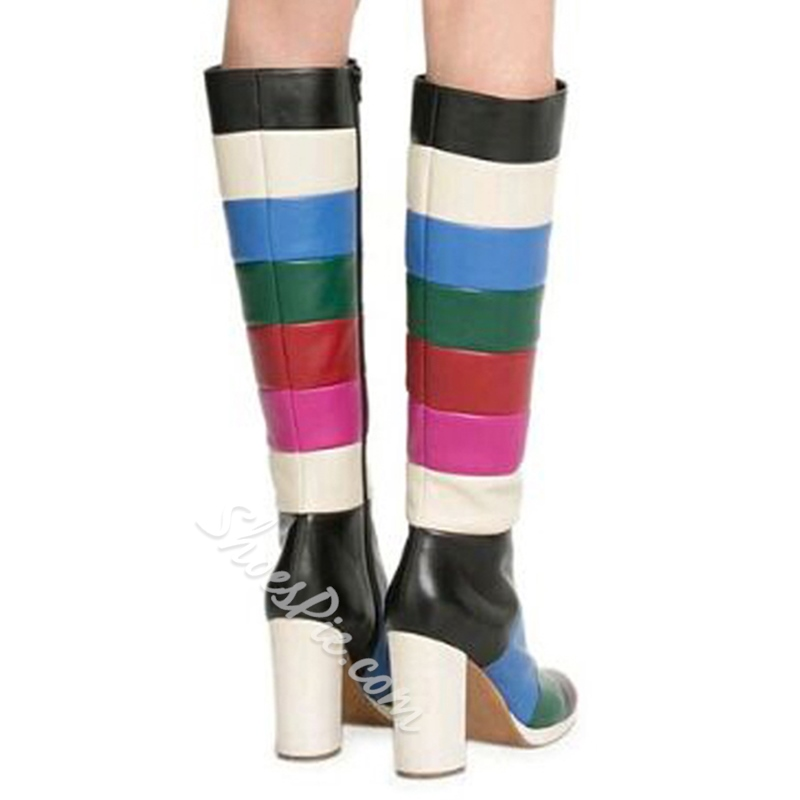Shoespie Contrast Color Round Toe Chunky Heel Knee High Boots