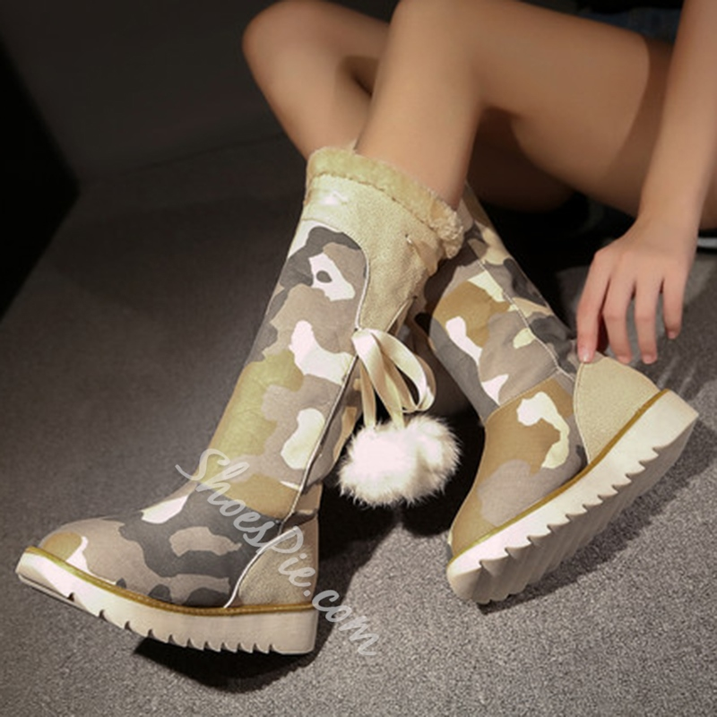 Shoespie Camouflage Print Pompom Accented Snow Boots