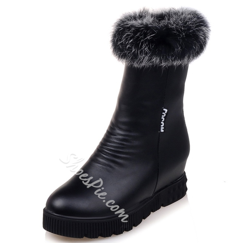 Shoespie Furry Lug Sole Snow Boots