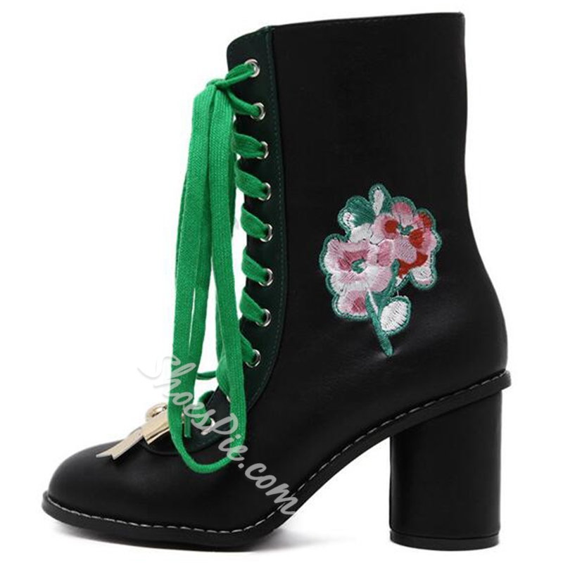 Shoespie Exotic Floral Embroidered Lace Up Ankle Boots
