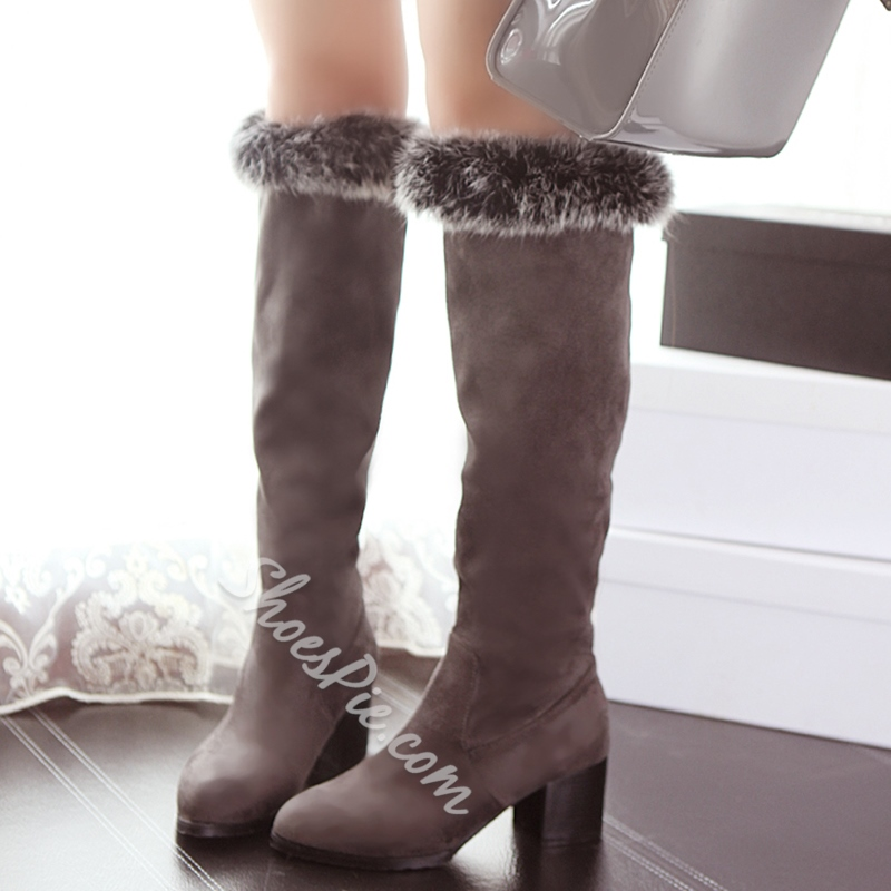Shoespie Nubuck Shearling Low Heel Snow Boots