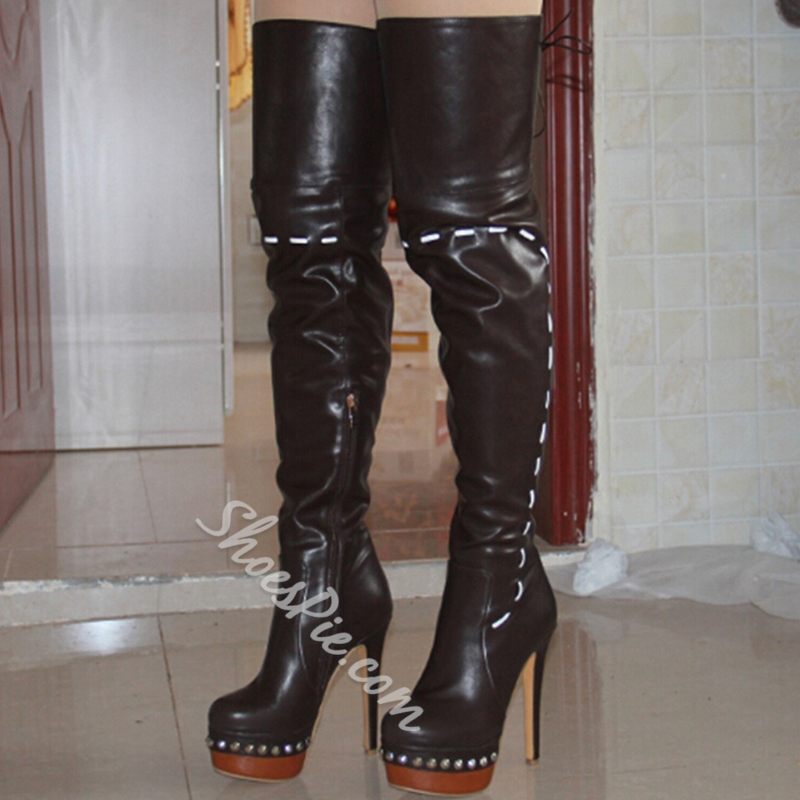 412ad44f5237 Shoespie Rivet Platform Lace-Up Thigh High Boots- Shoespie.com