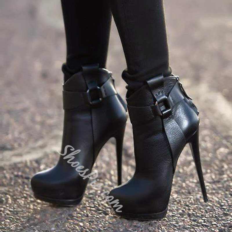 Shoespie Black Patchwork Buckle Extreme High Heel Ankle Boots