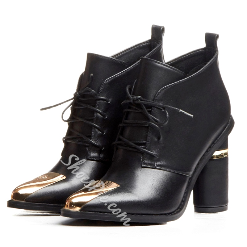 Shoespie Black Chunky Heel Lace Up Ankle Boots