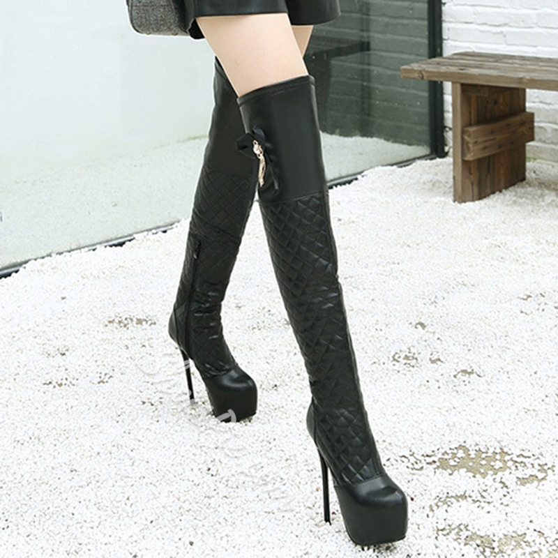 Shoespie Black Plaid Platform High Heel Boots