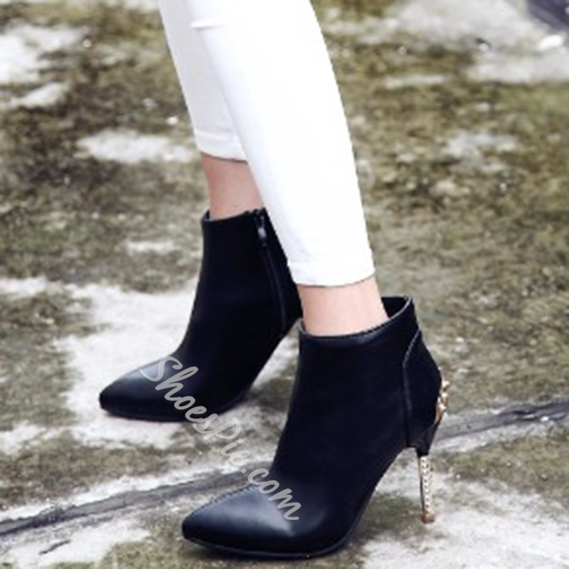 Shoespie Solid Color Pointed Toe Fashion Booties
