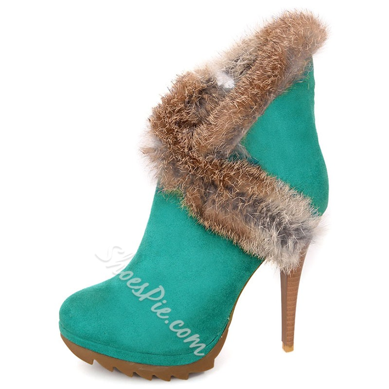 Shoespie Nubuck Furry Wrap Ankle Boots