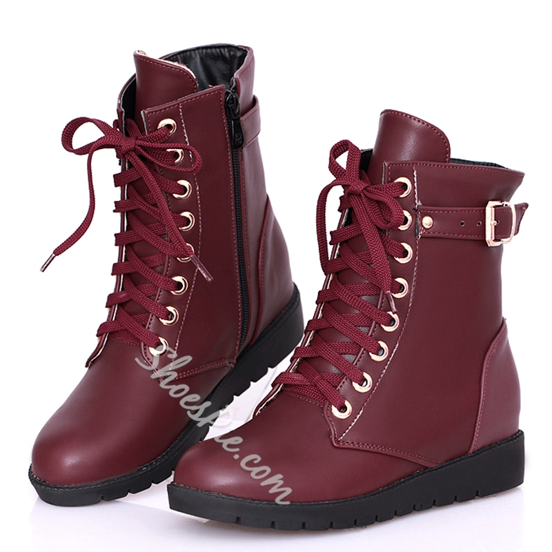 Shoespie Solid Color Buckle Lace Up Martin Boots