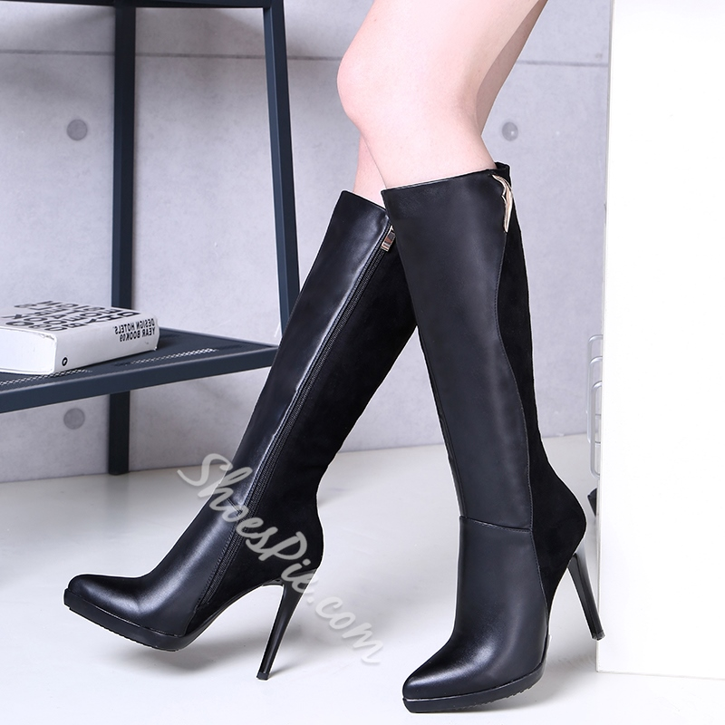 Shoespie Black Solid Color High Heel Boots