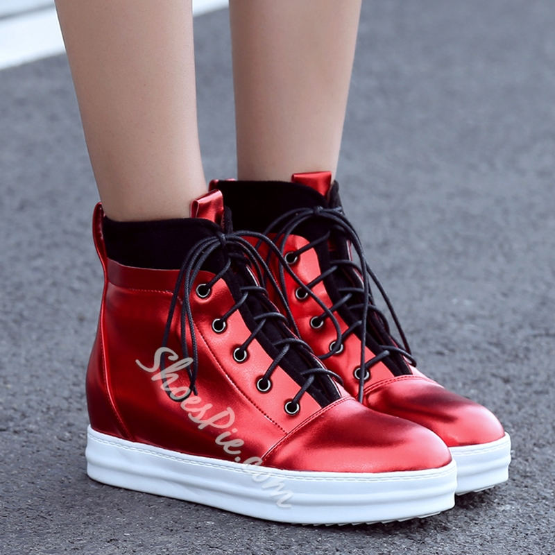 Shoespie Glossy Leather Platform Ankle Boots