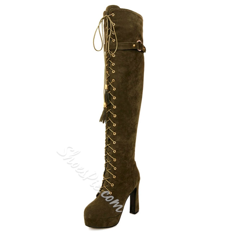 Shoespie Nubuck Fringe Lace-Up Knee High Boots