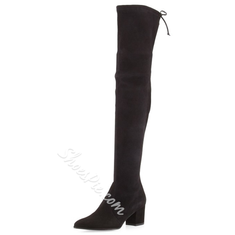 Shoespie Black Spandex Block Heel Thigh High Boots