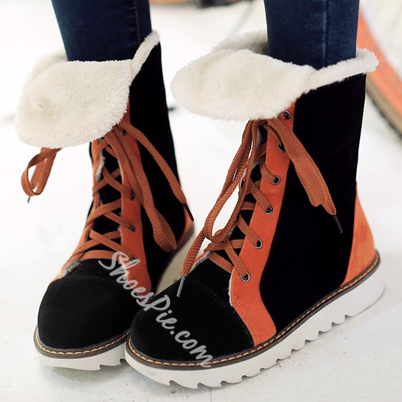 Shoespie Round Toe Nubuck Contrast Color Snow Boots
