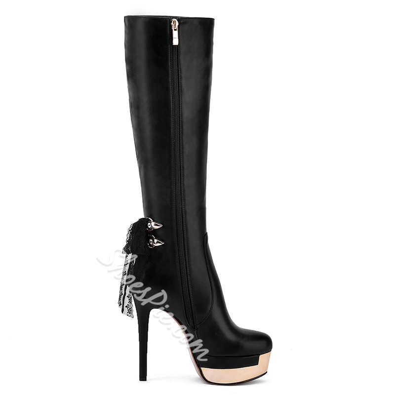 Shoespie Black Tie-Back Extreme High Heel Fashion Boots